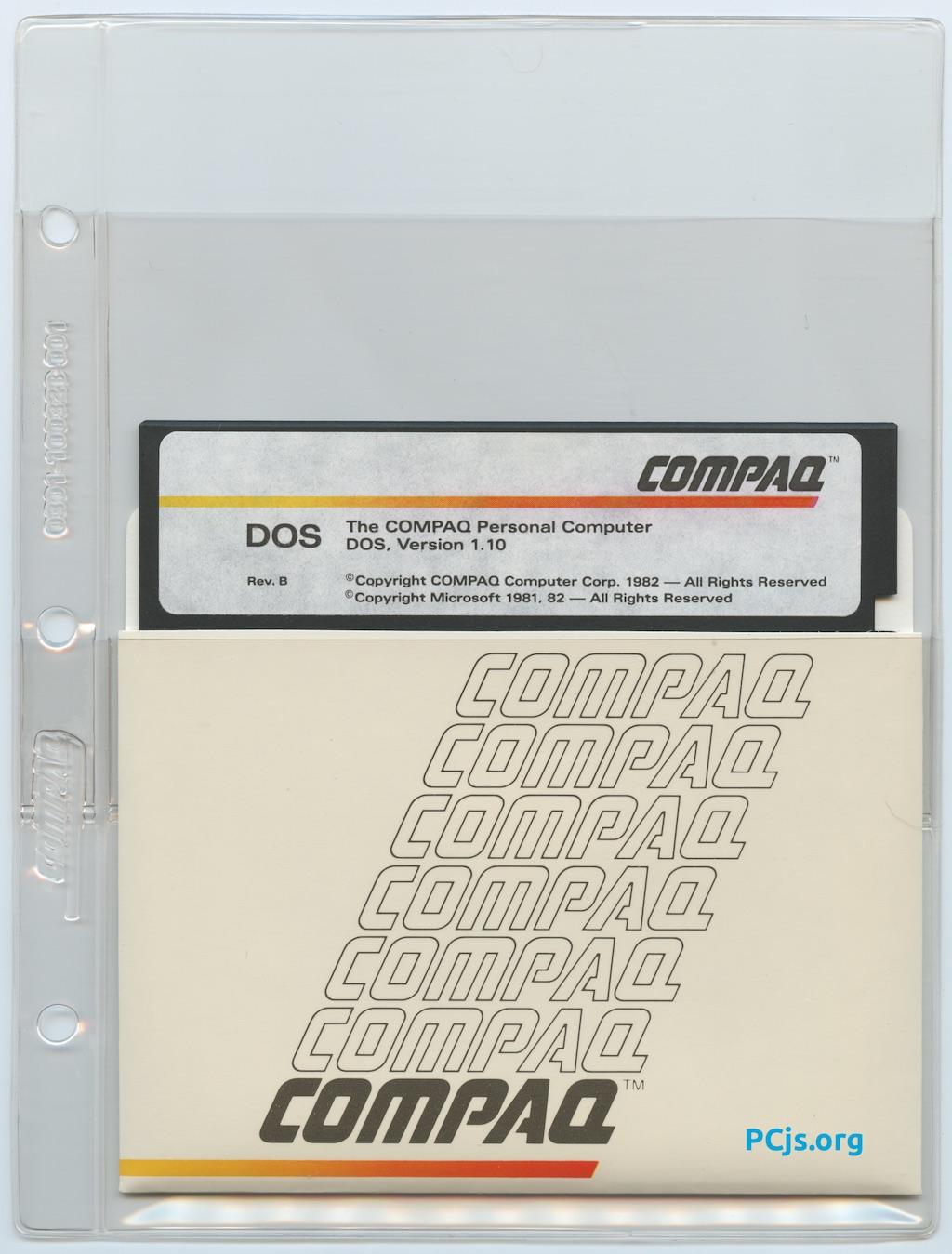 COMPAQ MS-DOS 1.10B Diskette