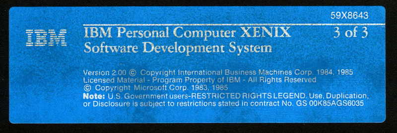 IBM PC XENIX 2.0 SDK 3